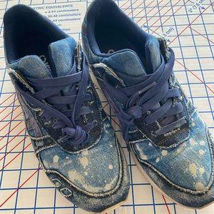 🔥 1 of 1 ASICS Denim bleach Destroyed Shoes 9 🔥